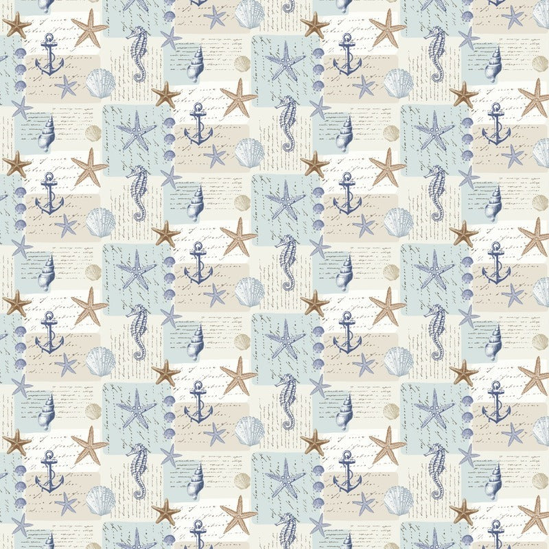 Fryetts Fabrics Ocean Curtain Fabric Blue Picture