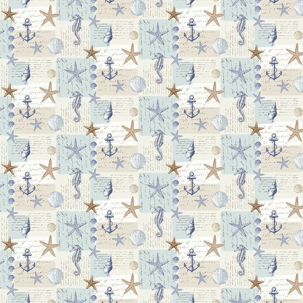 Ocean Curtain Fabric Blue