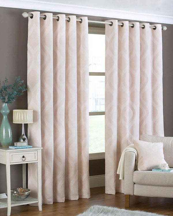 Ogee/Arch Ready Made Eyelet Curtains Natural