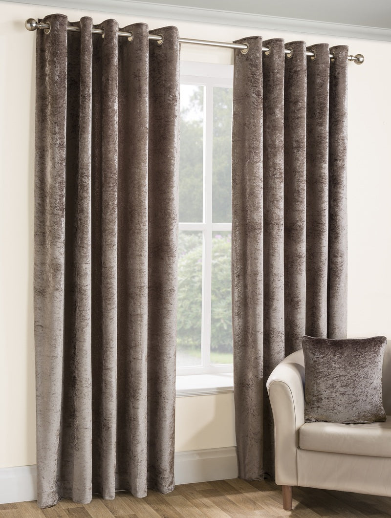 Opulence Ready Made Lined Eyelet Curtains Praline