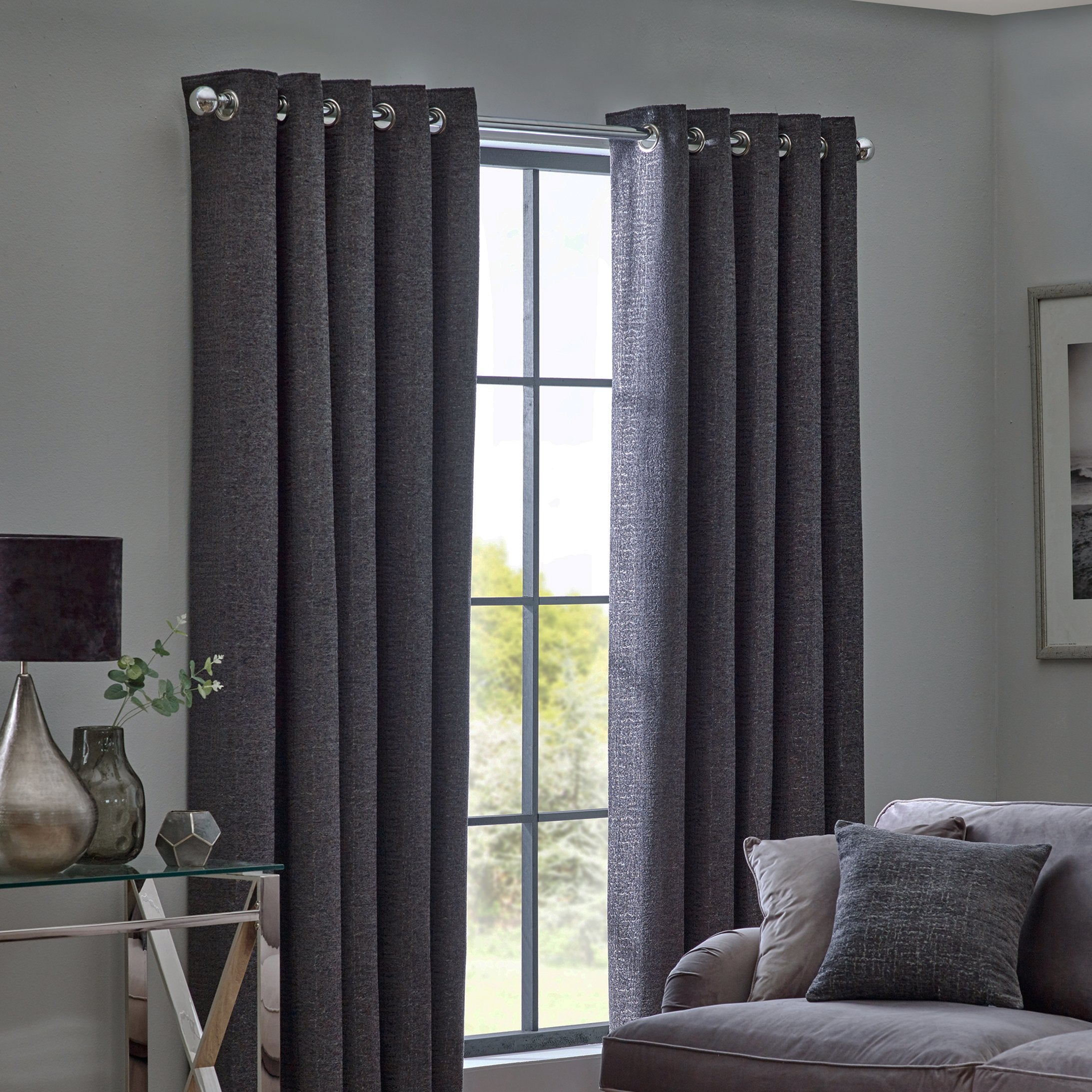 Belfields Ready Made Curtains  Orion Ready Made Eyelet Curtains Graphite