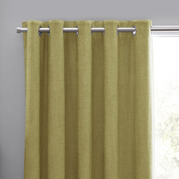 Orkney Chenille Ready Made Eyelet Curtains Ochre