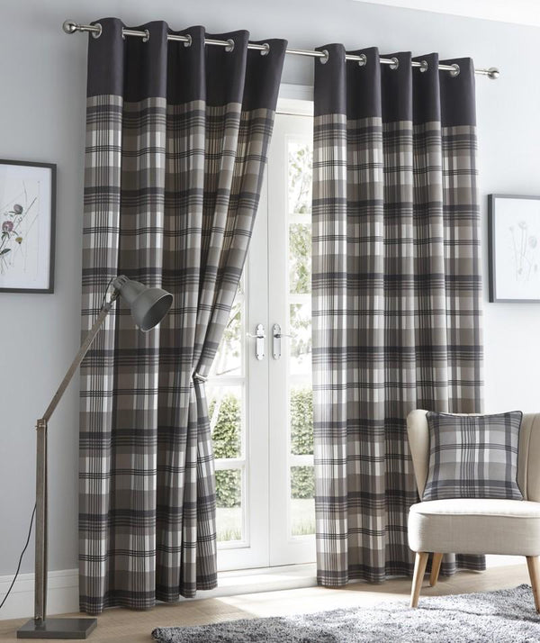 Orleans Ready Made Eyelet Curtains Charcoal
