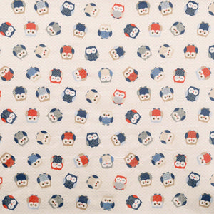 Owls Curtain Fabric Blue