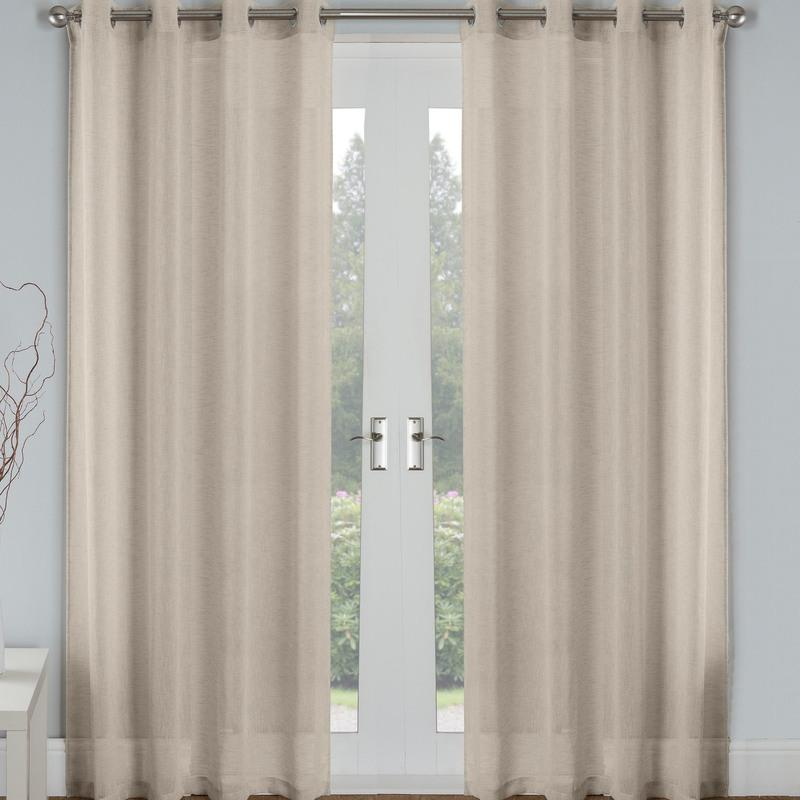 Tyrone Ready Made Curtains Palm Eyelet Voile Panel Natural Picture
