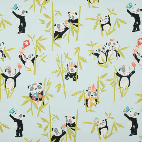 Panda Curtain Fabric Aqua