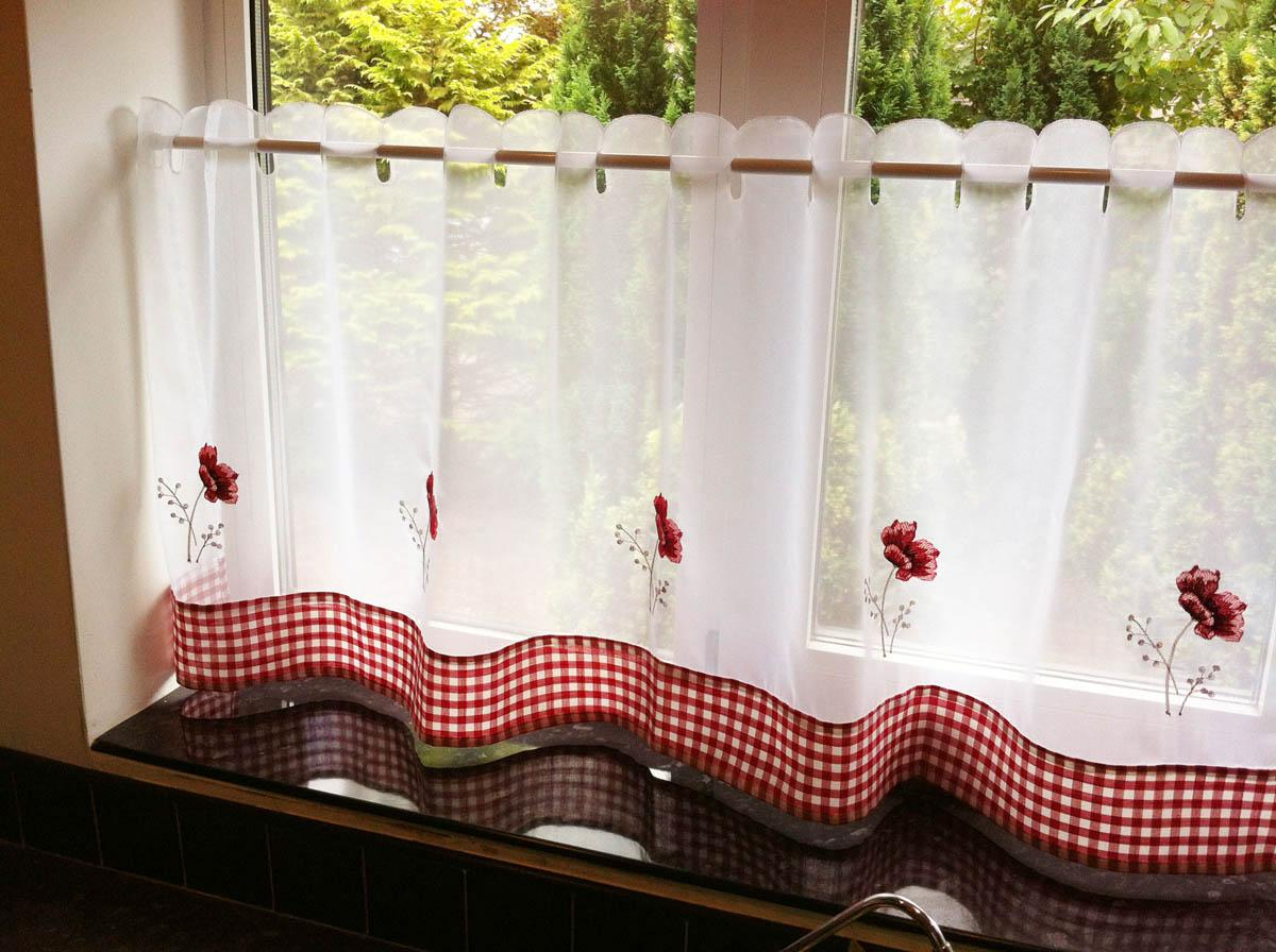 Alan Symonds Ready Made Curtains Poppies Cafe Curtain Panel White/Red Picture