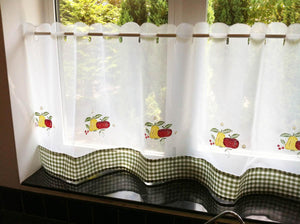 Fruit Cafe Curtain Panel White/Green