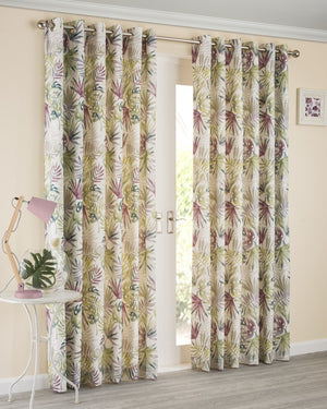 Paradise Ready Made Lined Eyelet Curtains Heather