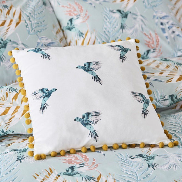 Paradise Parrot Filled Cushion 18 x 18 Oyster