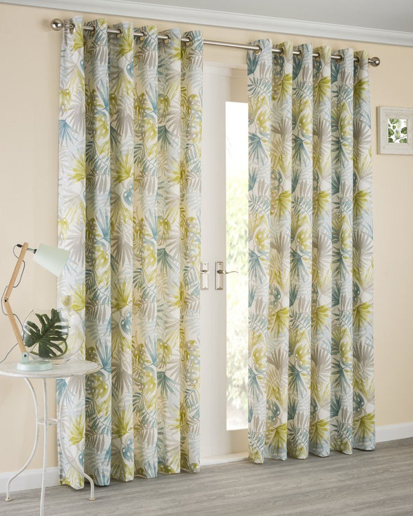 Paradise Ready Made Lined Eyelet Curtains Teal