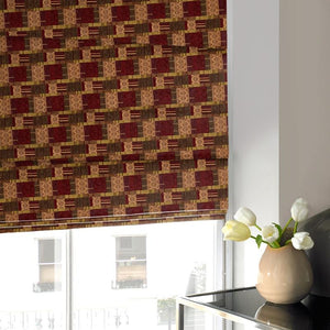 Patchwork Roman Blind Plum