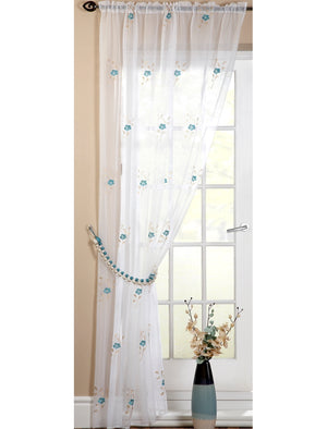 Pearls Voile Panel Teal