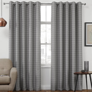 Phoenix Thermal Interlined Luxury Ready Made Eyelet Curtains Charcoal