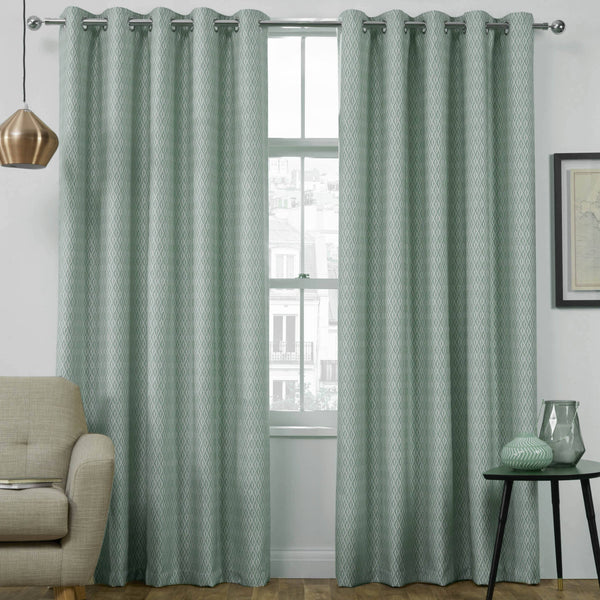 Phoenix Thermal Interlined Luxury Ready Made Eyelet Curtains Duck Egg