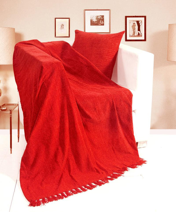 Chenille Filled Cushion Red
