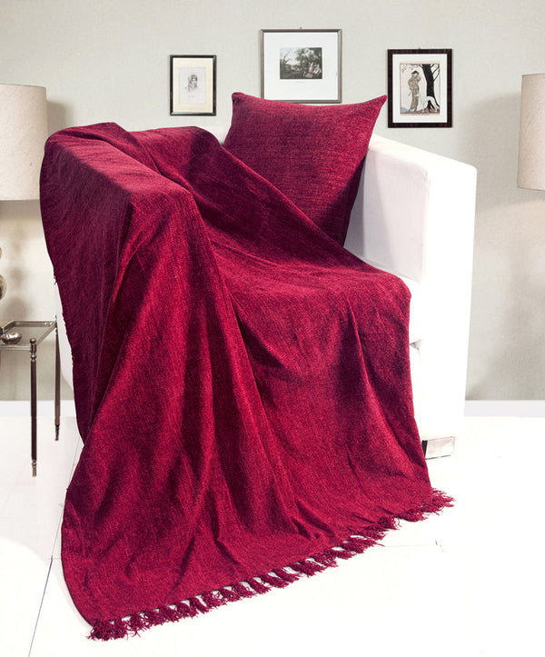Chenille Throw Wine