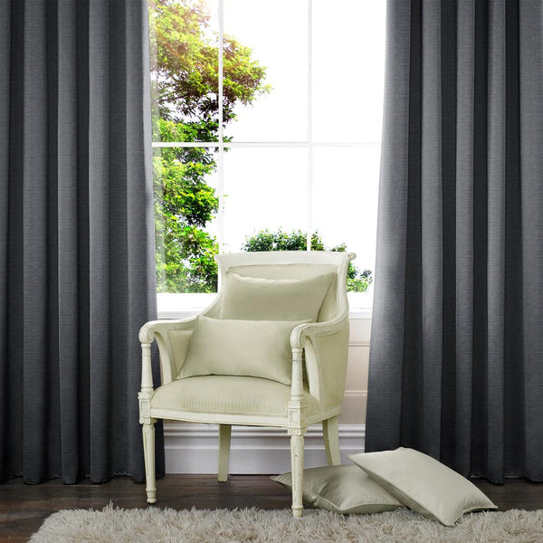 Palm Made to Measure Curtains Charcoal