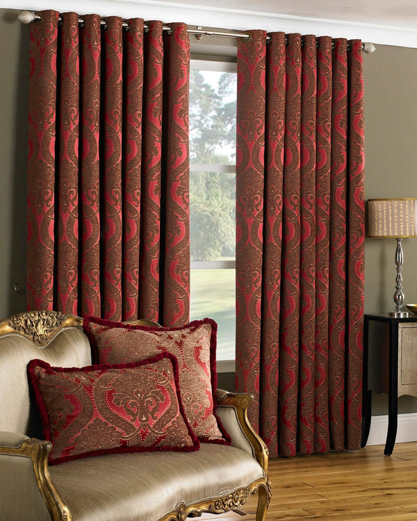 Renaissance Ready Made Eyelet Curtains Burgundy