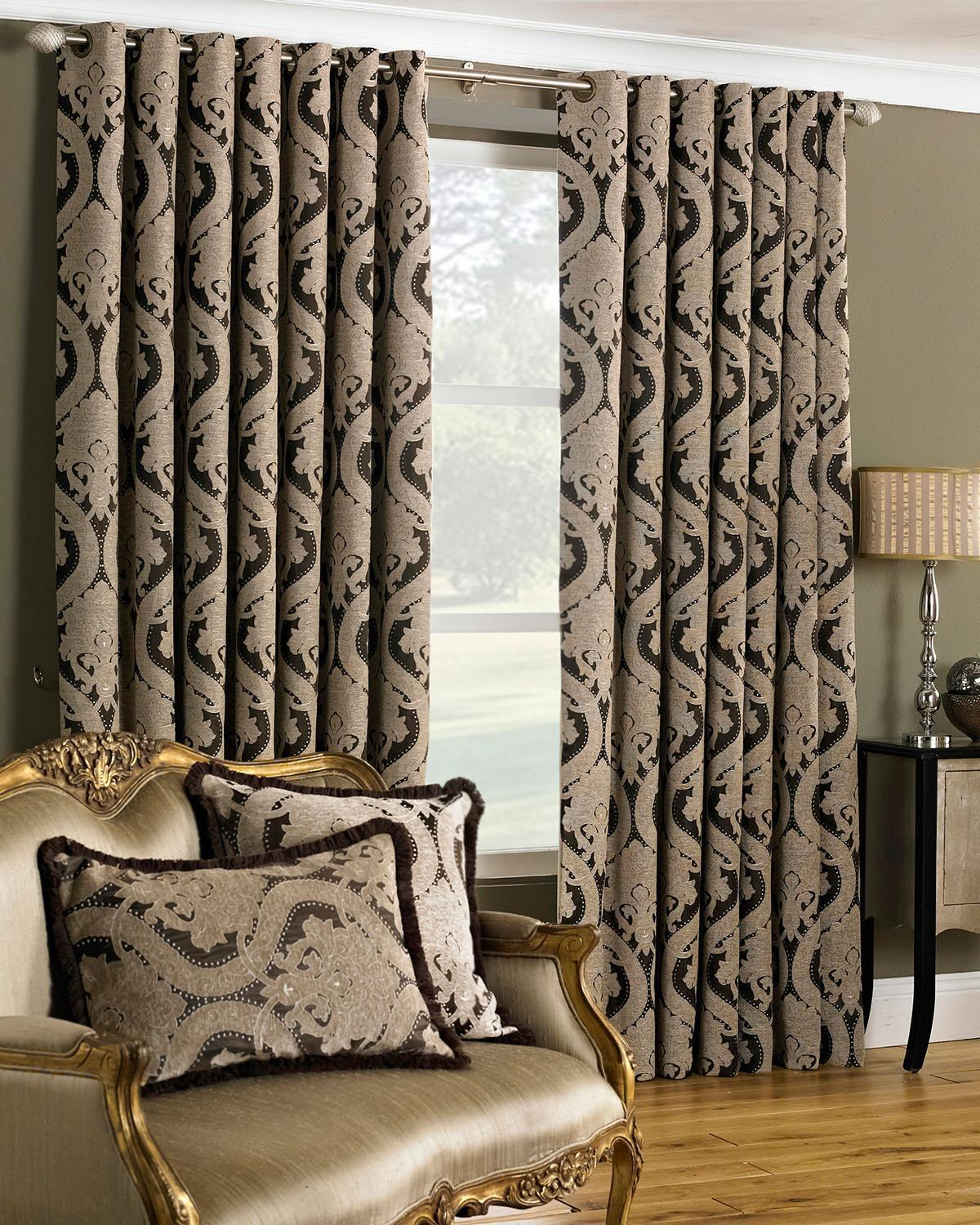 Riva Ready Made Curtains Renaissance Ready Made Eyelet Curtains Mocha Picture