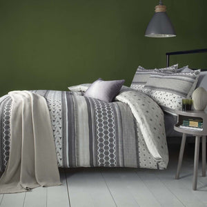 Retrace Stripe Bedding Set Charcoal