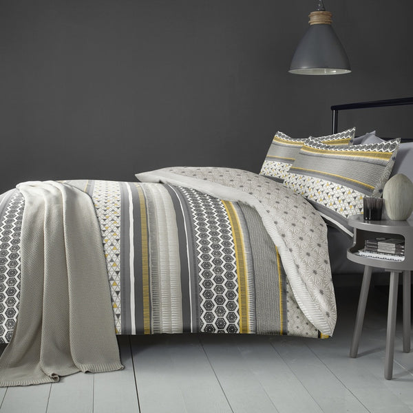 Retrace Stripe Bedding Set Ochre