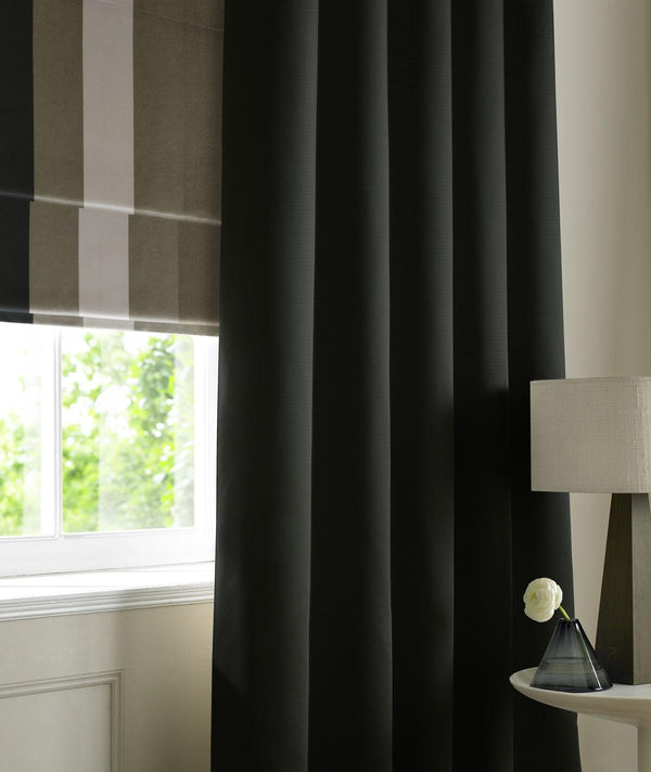 Rib Plain Made to Measure Curtains Noir