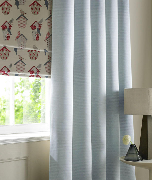 Rib Plain Made to Measure Curtains Sky
