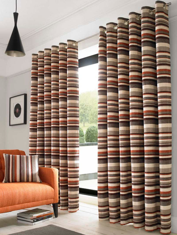 Richmond Ready Made Lined Eyelet Curtains Orange