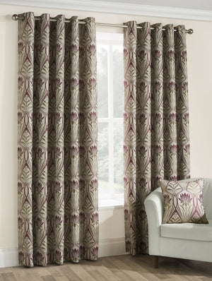 Riga Ready Made Lined Eyelet Curtains Amethyst
