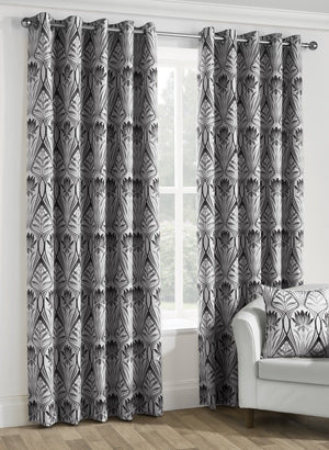 Riga Ready Made Lined Eyelet Curtains Onyx
