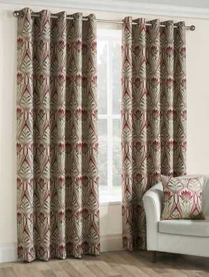 Riga Ready Made Lined Eyelet Curtains Ruby