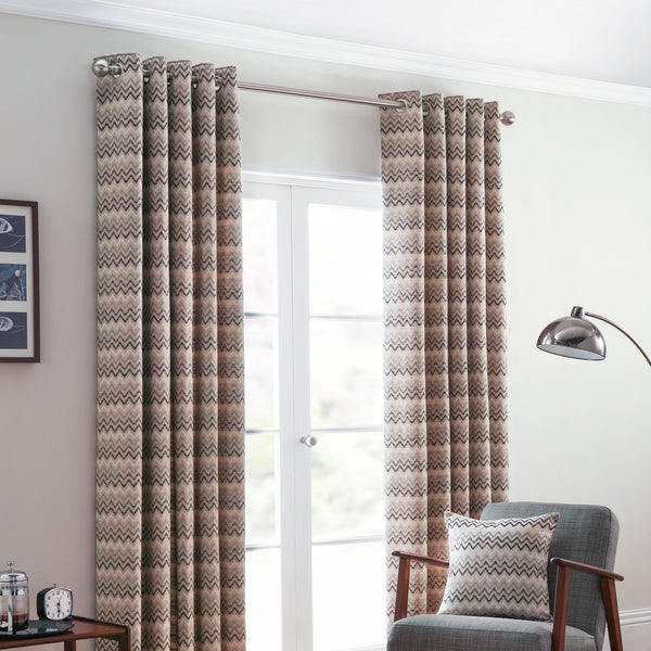 Rio Ready Made Lined Eyelet Curtains Monochrome