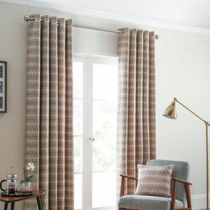 Rio Ready Made Lined Eyelet Curtains Ochre
