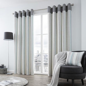 Rydell Stripe Ready Made Eyelet Curtains Teal