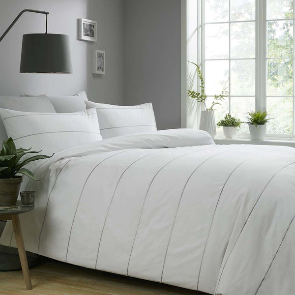 Appletree Silver - Salcombe Embroidered Bedding Set White