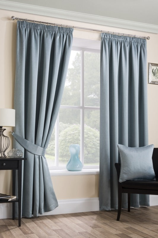 Sateen Ready Made Blackout Curtains Duckegg