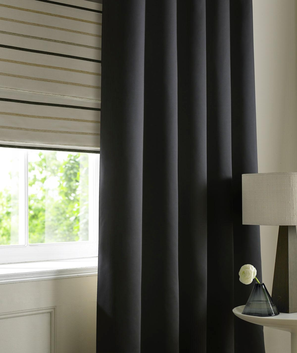 Satin Made to Measure Curtains Noir