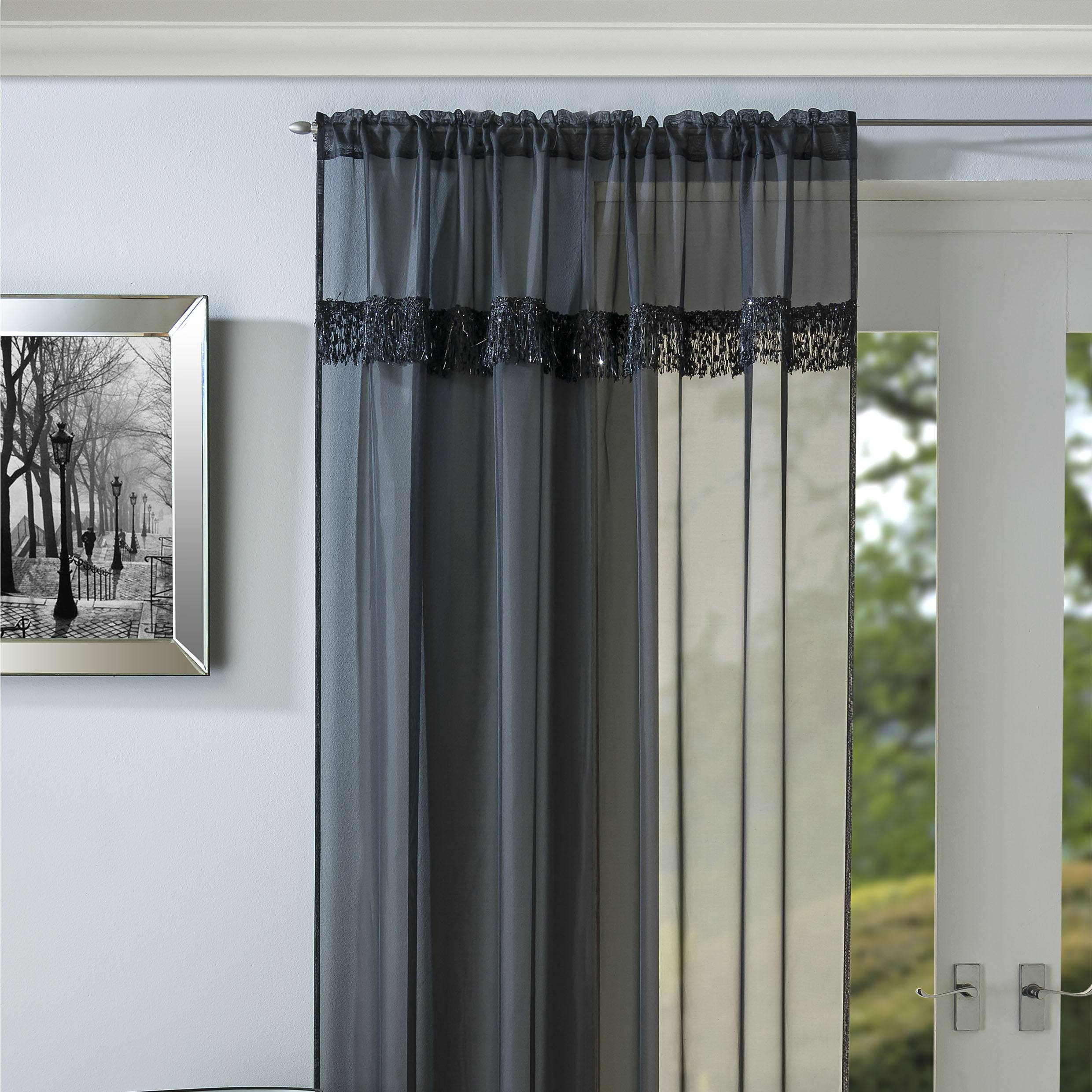 Tyrone Ready Made Curtains Savannah Ready Made Rod Pocket Voile Panel Black Picture