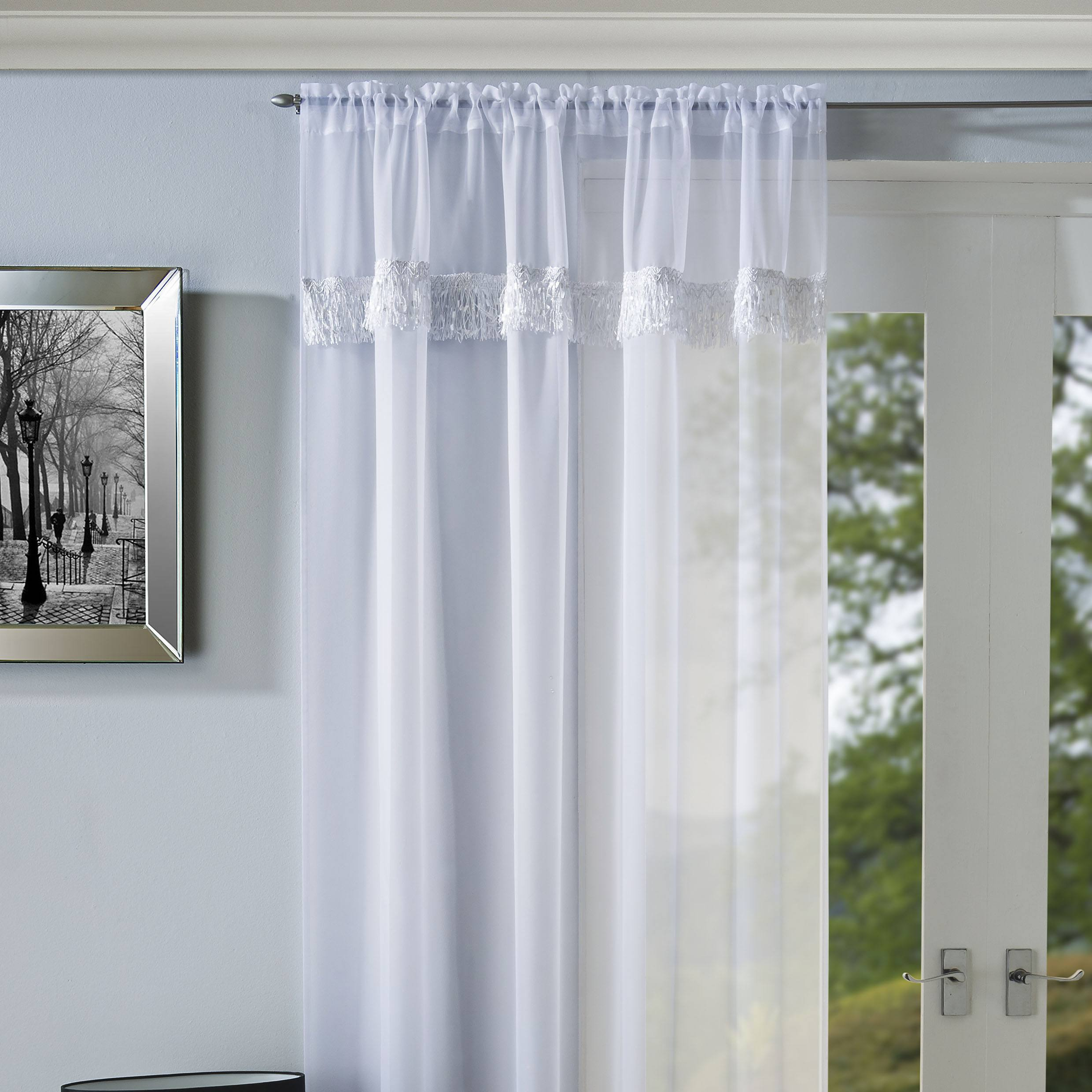 Tyrone Ready Made Curtains Savannah Ready Made Rod Pocket Voile Panel White Picture