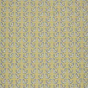 Scandi Birds Curtain Fabric Mustard