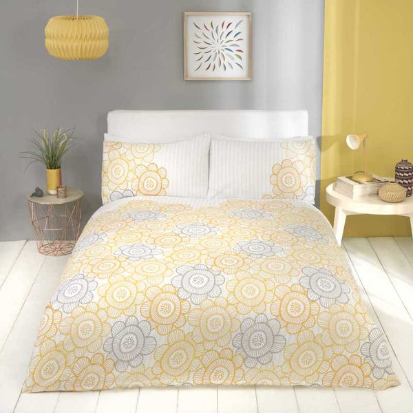 Scandi Sunflower Bedding Set Yellow