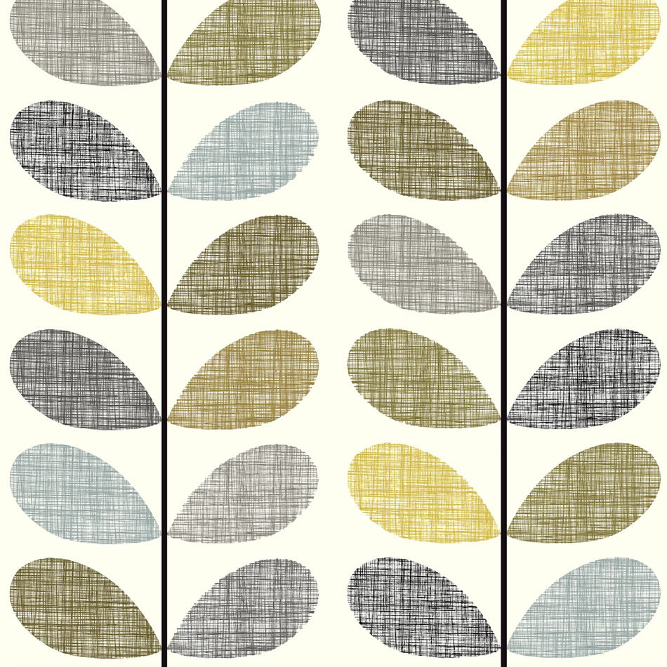 Roman Blind Made in Orla Kiely Yellow Scribble Stem Fabric Deluxe Sidewinder