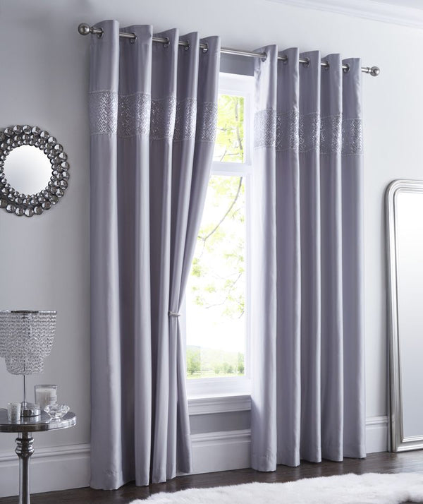 Shimmer Ready Made Eyelet Curtains Silver