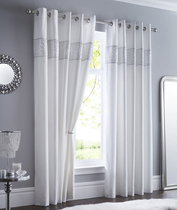 Shimmer Ready Made Eyelet Curtains White