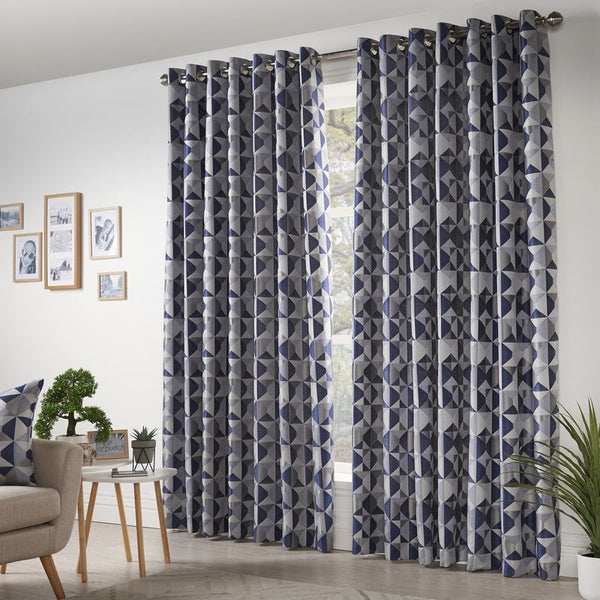 Skandi Ready Made Eyelet Curtains Navy
