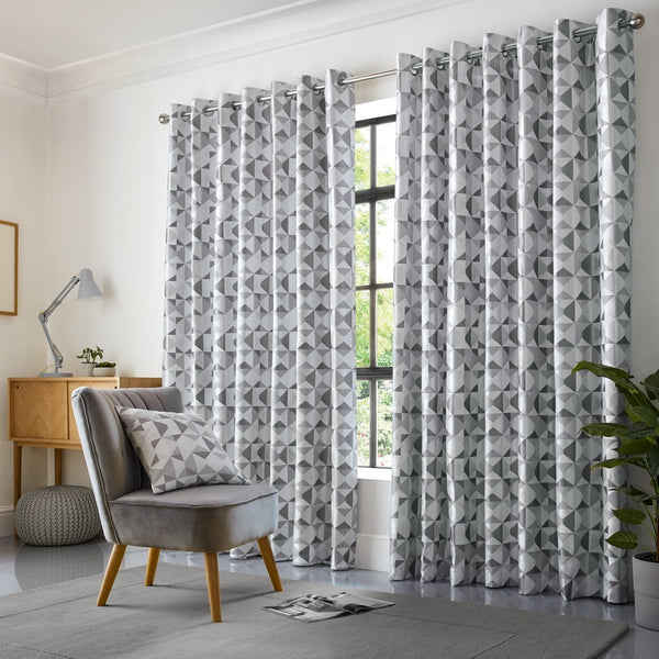 Skandi Ready Made Eyelet Curtains Silver