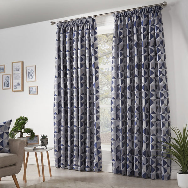 Skandi Ready Made Curtains Navy