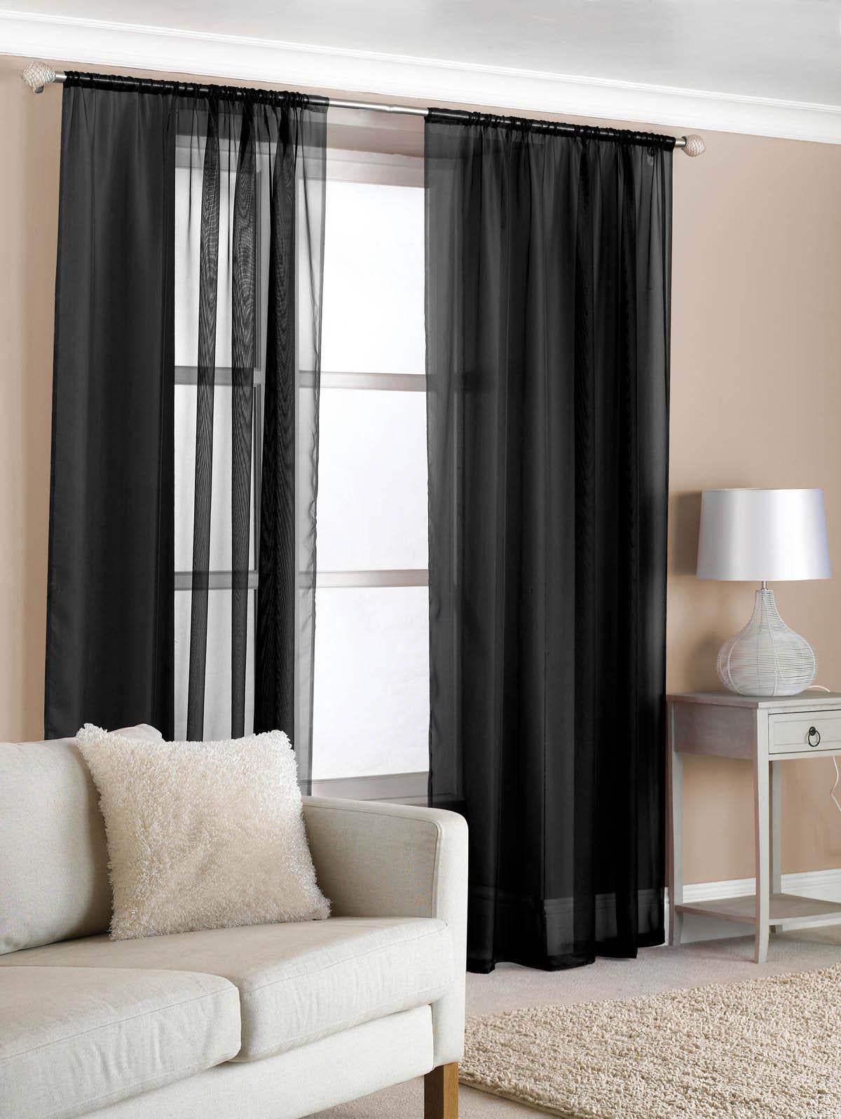Beamfeature Ready Made Curtains Slot Top Voile (Pair) Black Picture