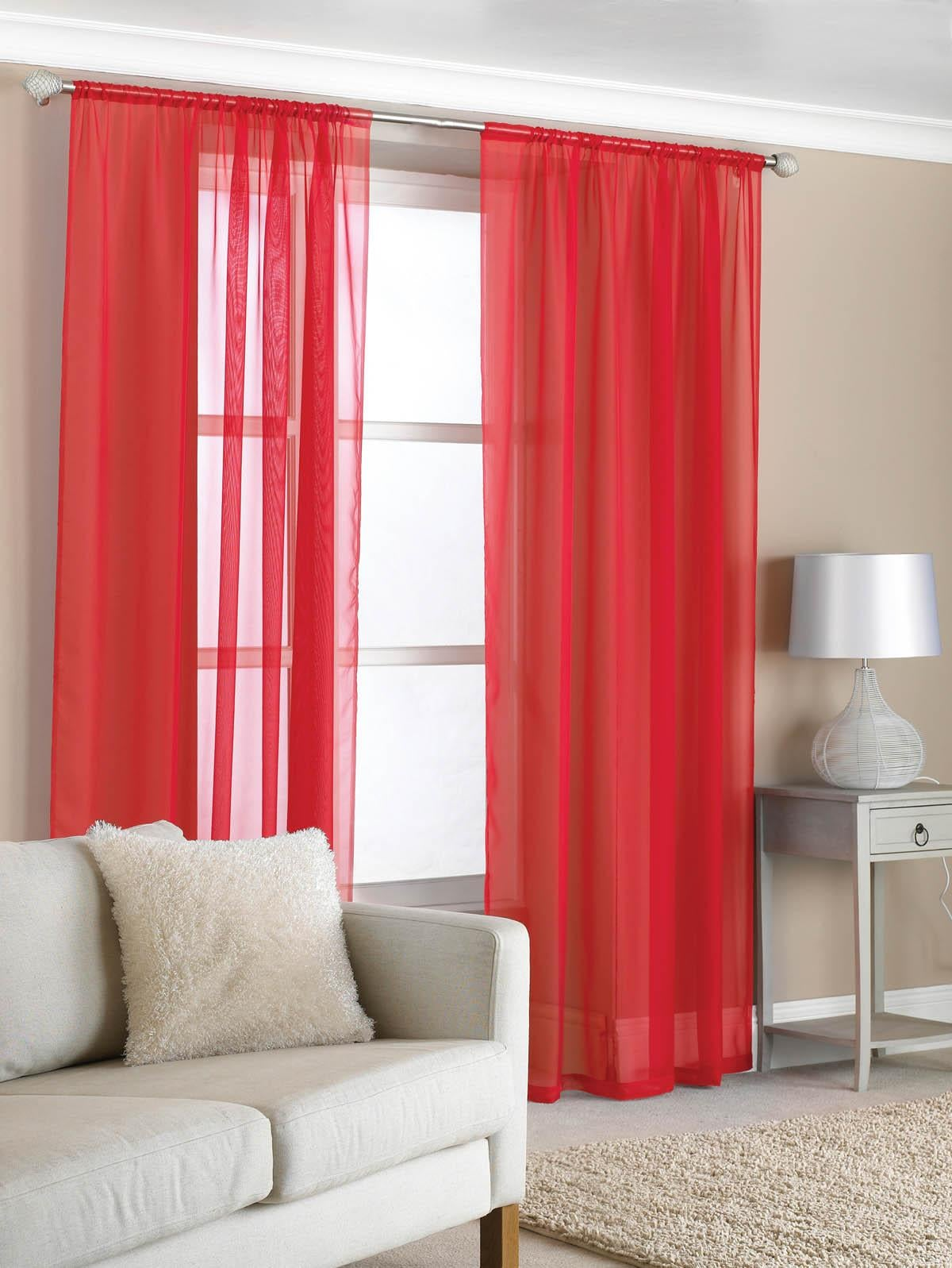 Beamfeature Ready Made Curtains Slot Top Voile (Pair) Red Picture